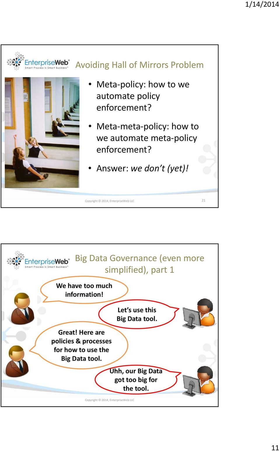 Copyright 2014, EnterpriseWeb LLC 21 Big Data Governance (even more simplified), part 1 We have too much information!