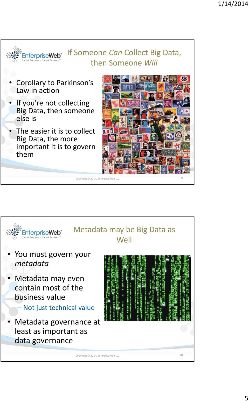 EnterpriseWeb LLC 9 You must govern your metadata Metadata may even contain most of the business value Not just technical