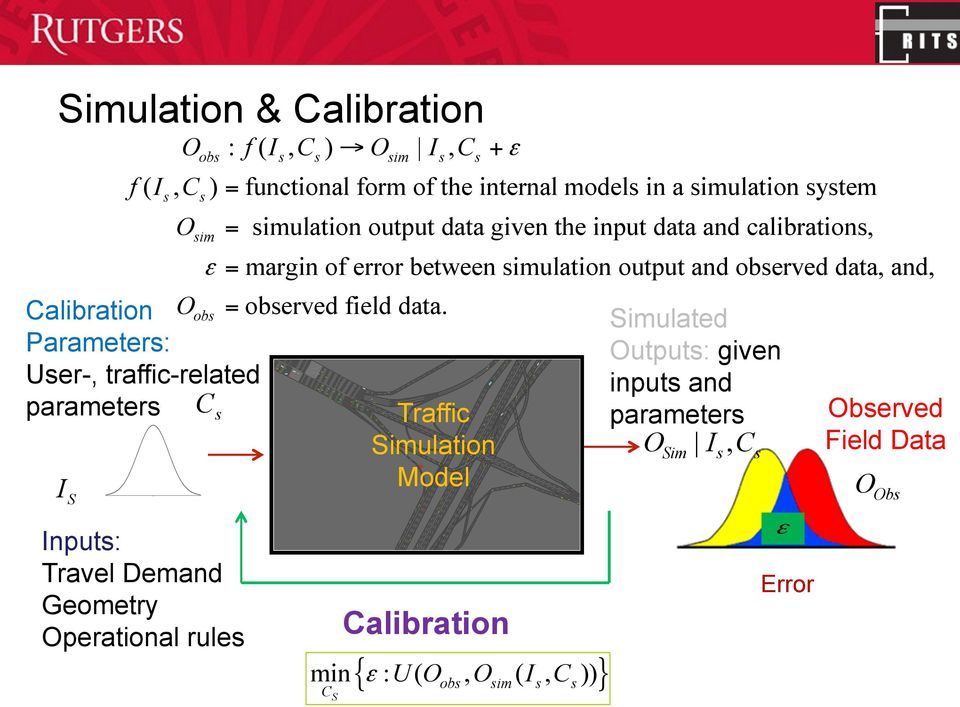 form of the internal models in a simulation system s O obs s s sim s s s sim = simulation output data given the input data and calibrations, ε = margin