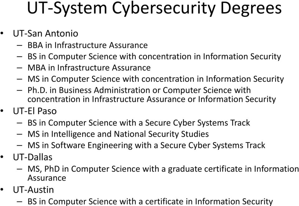 in Business Administration or Computer Science with concentration in Infrastructure Assurance or Information Security UT El Paso BS in Computer Science with a Secure Cyber