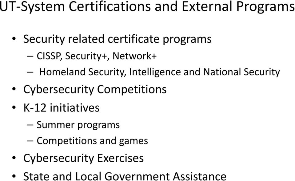 National Security Cybersecurity Competitions K 12 initiatives Summer programs