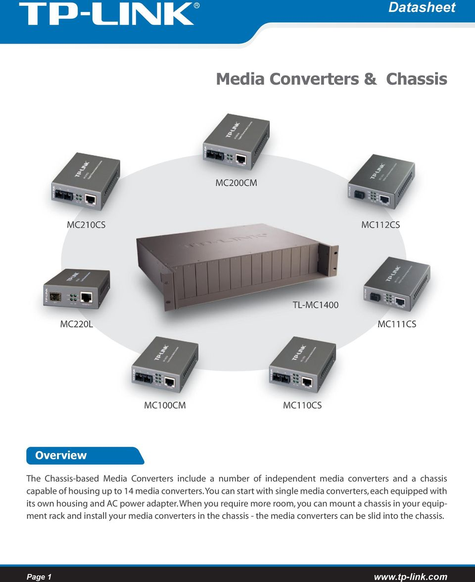 You can start with single media converters, each equipped with its own housing and AC power adapter.