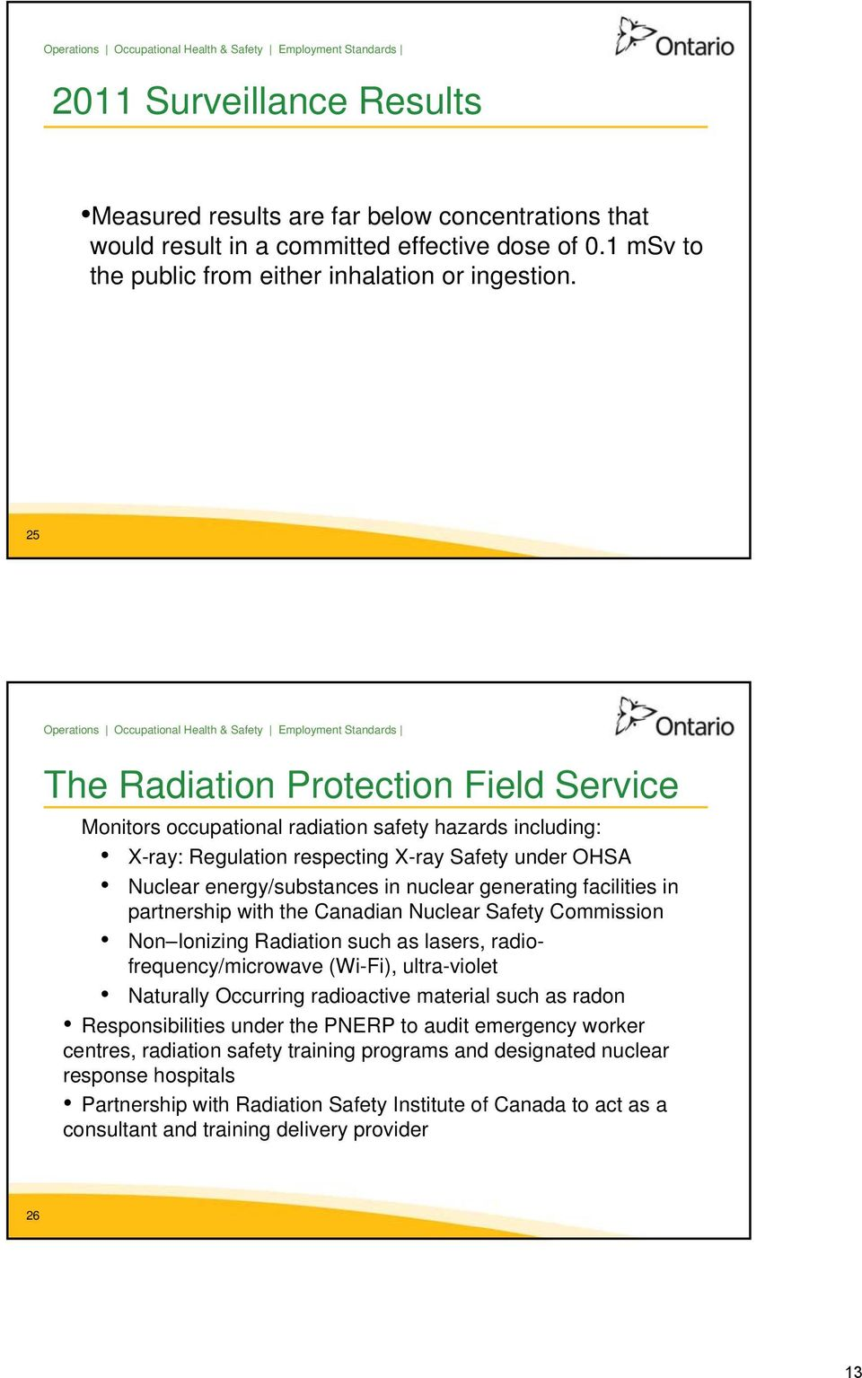 generating facilities in partnership with the Canadian Nuclear Safety Commission Non Ionizing Radiation such as lasers, radiofrequency/microwave (Wi-Fi), ultra-violet Naturally Occurring radioactive