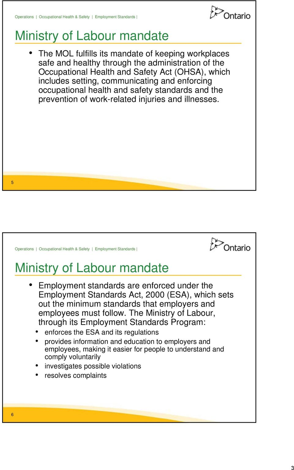 5 Ministry of Labour mandate Employment standards are enforced under the Employment Standards Act, 2000 (ESA), which sets out the minimum standards that employers and employees must follow.