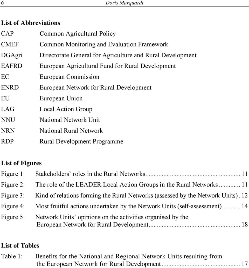Network RDP Rural Development Programme List of Figures Figure 1: Stakeholders roles in the Rural Networks... 11 Figure 2: The role of the LEADER Local Action Groups in the Rural Networks.