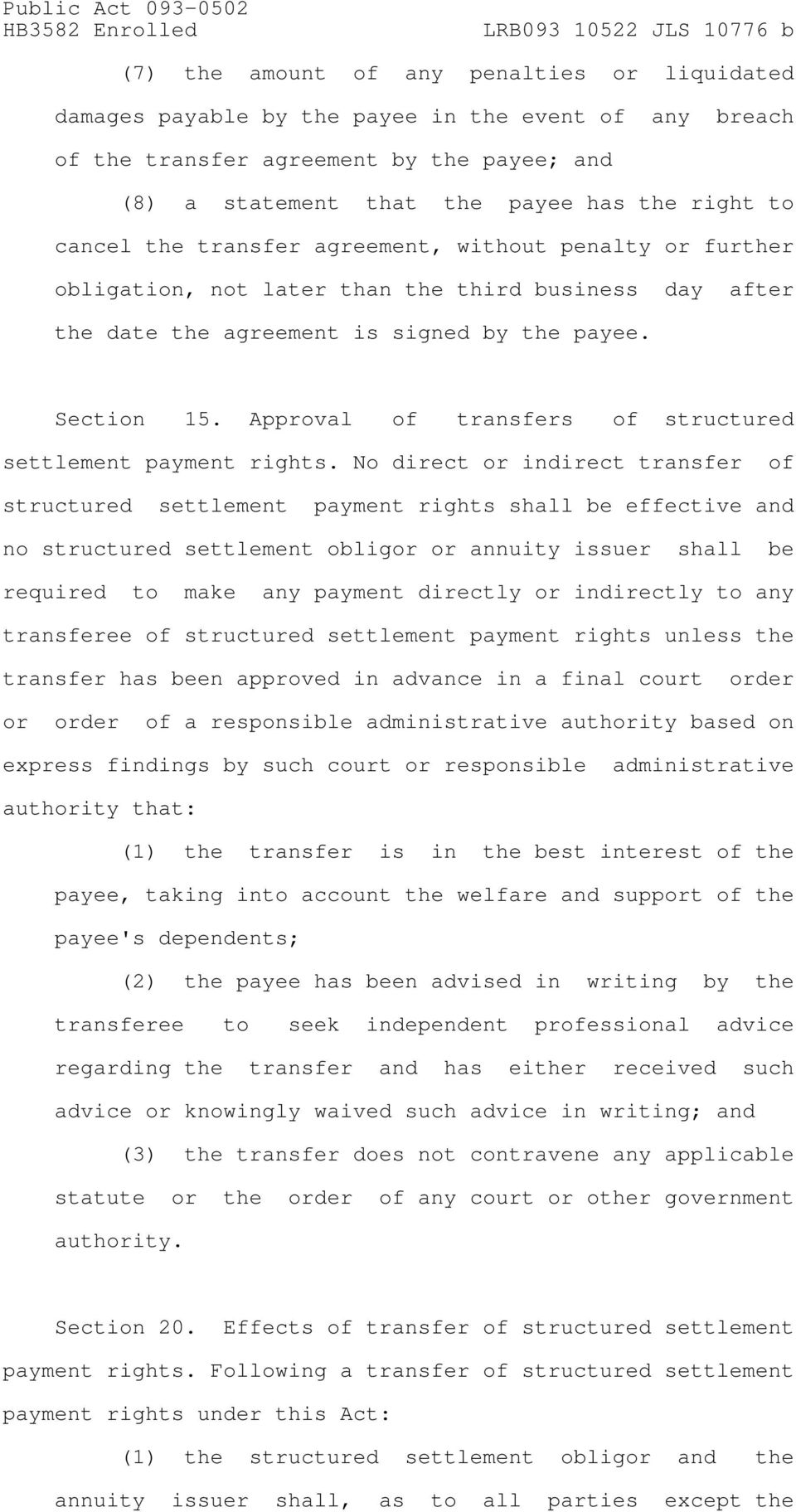 Approval of transfers of structured settlement payment rights.