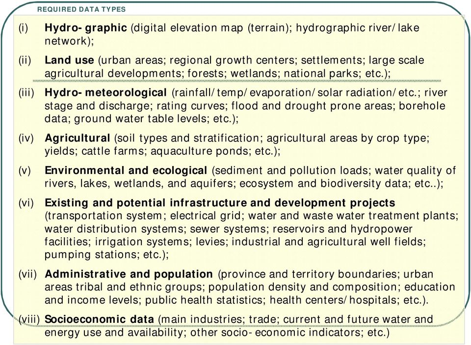 ; river stage and discharge; rating curves; flood and drought prone areas; borehole data; ground water table levels; etc.