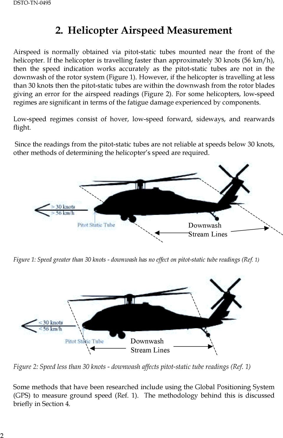 1). However, if the helicopter is travelling at less than 30 knots then the pitot-static tubes are within the downwash from the rotor blades giving an error for the airspeed readings (Figure 2).