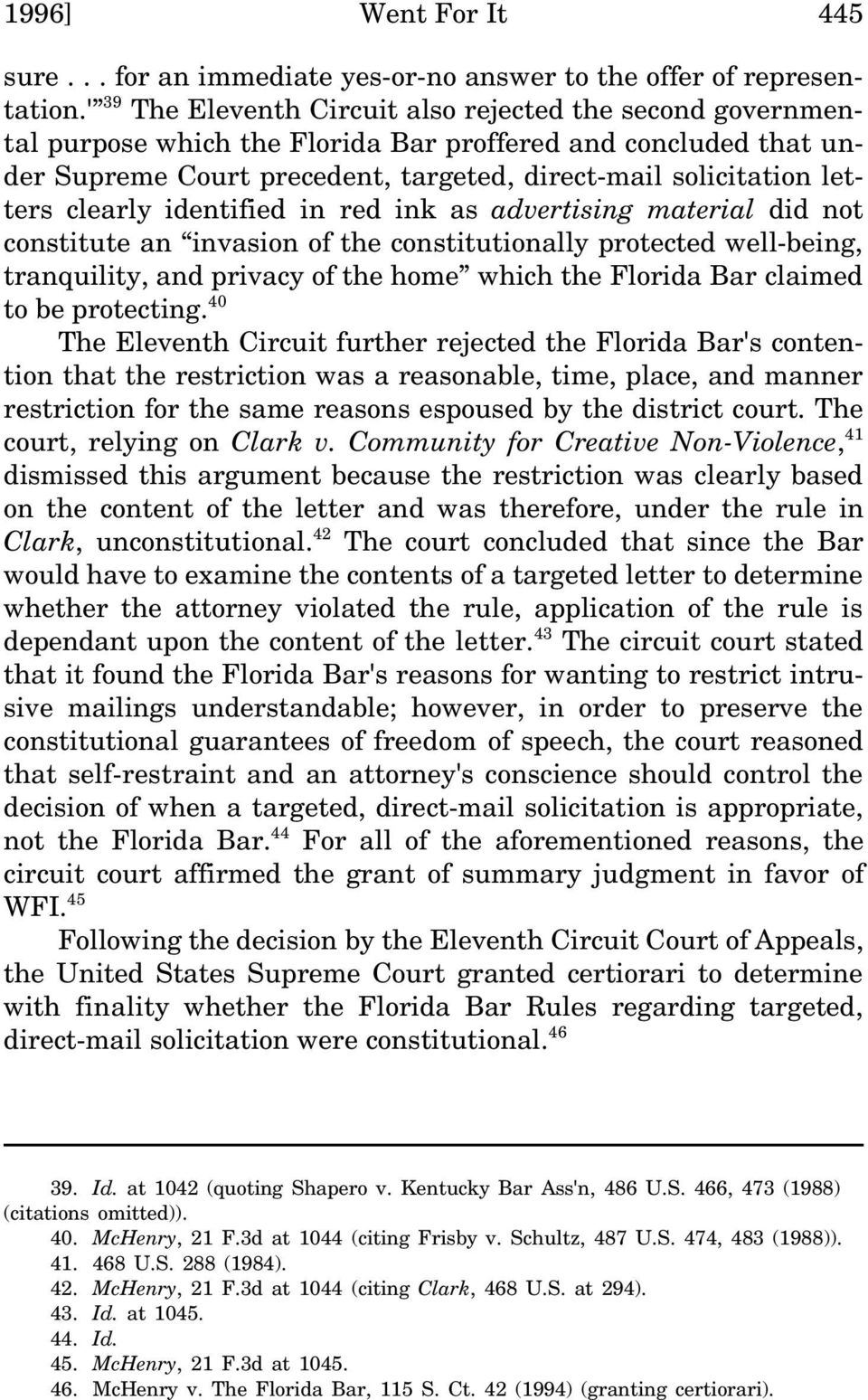 clearly identified in red ink as advertising material did not constitute an invasion of the constitutionally protected well-being, tranquility, and privacy of the home which the Florida Bar claimed