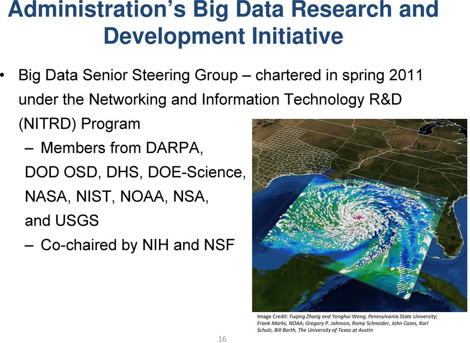 NIST, NOAA, NSA, and USGS Co-chaired by NIH and NSF 16 Image Credit: Fuqing Zhang and Yonghui Weng, Pennsylvania State