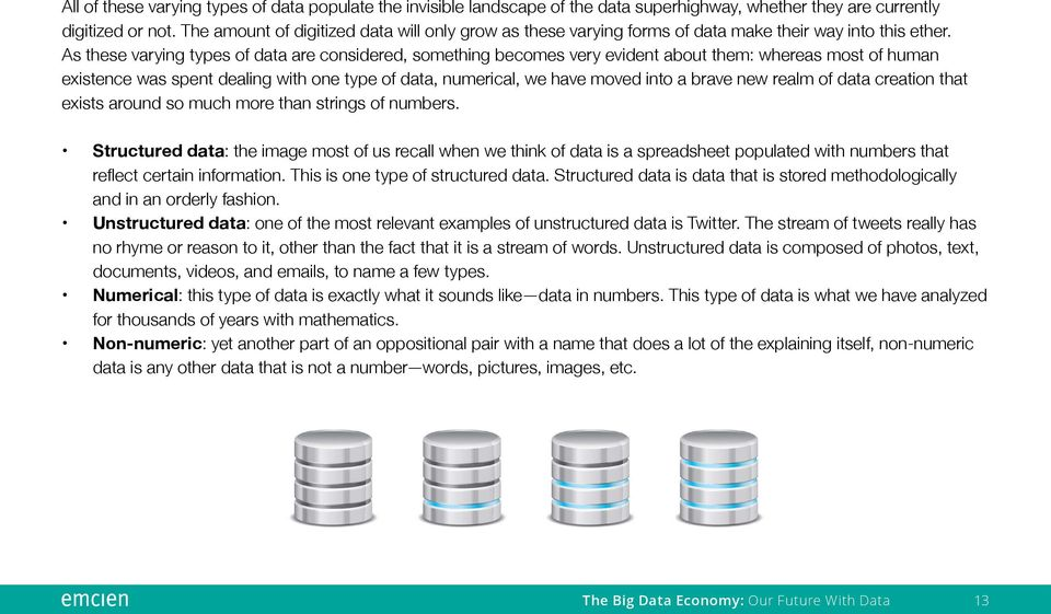 As these varying types of data are considered, something becomes very evident about them: whereas most of human existence was spent dealing with one type of data, numerical, we have moved into a