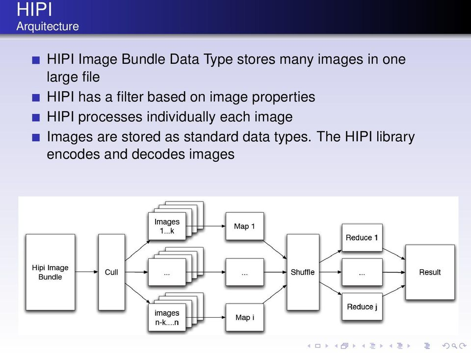 properties HIPI processes individually each image Images are