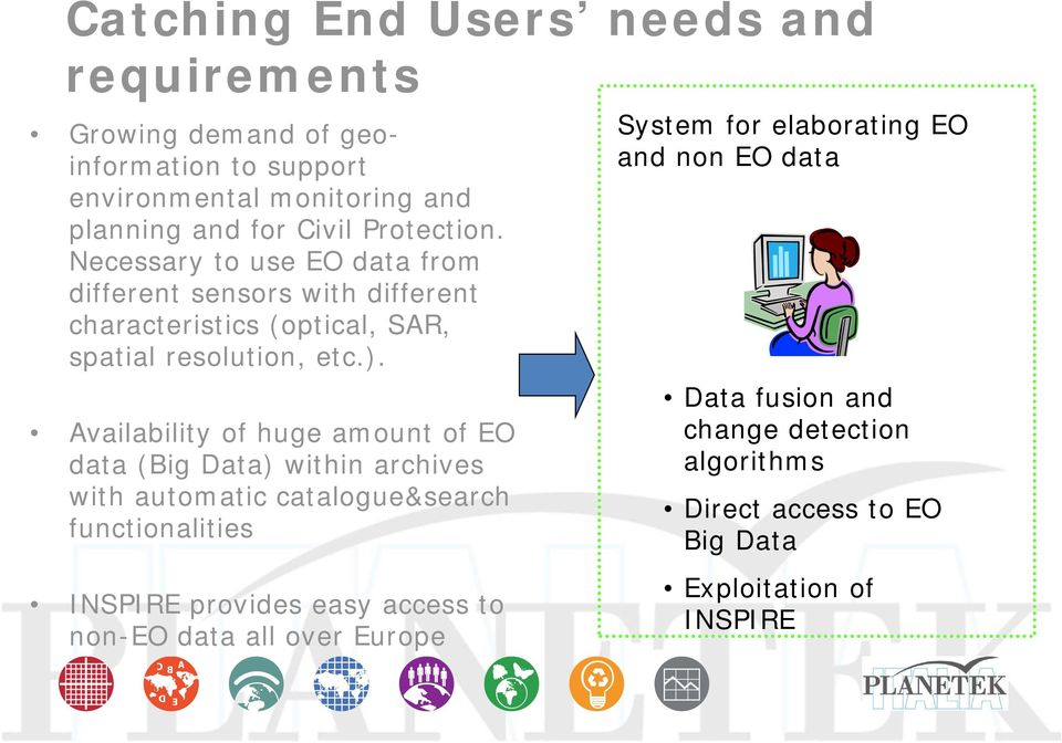 Availability of huge amount of EO data (Big Data) within archives with automatic catalogue&search functionalities System for elaborating EO and