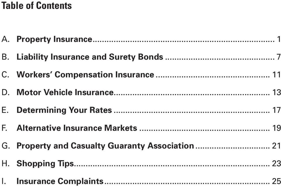 Determining Your Rates... 17 F. Alternative Insurance Markets... 19 G.