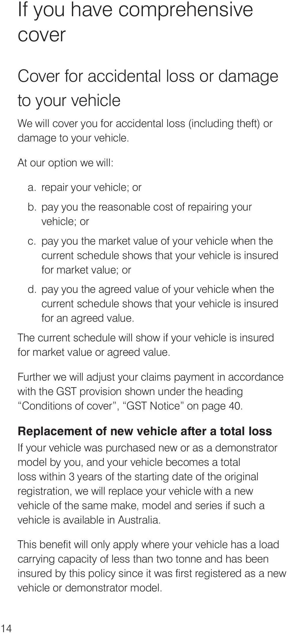 pay you the market value of your vehicle when the current schedule shows that your vehicle is insured for market value; or d.