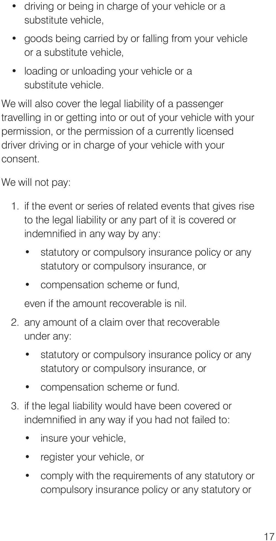 We will also cover the legal liability of a passenger travelling in or getting into or out of your vehicle with your permission, or the permission of a currently licensed driver driving or in charge