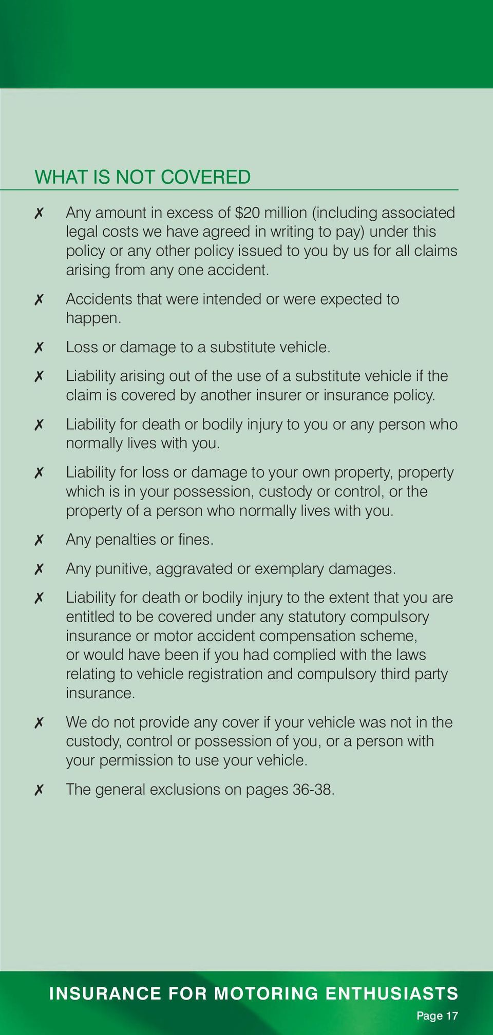 Liability arising out of the use of a substitute vehicle if the claim is covered by another insurer or insurance policy.