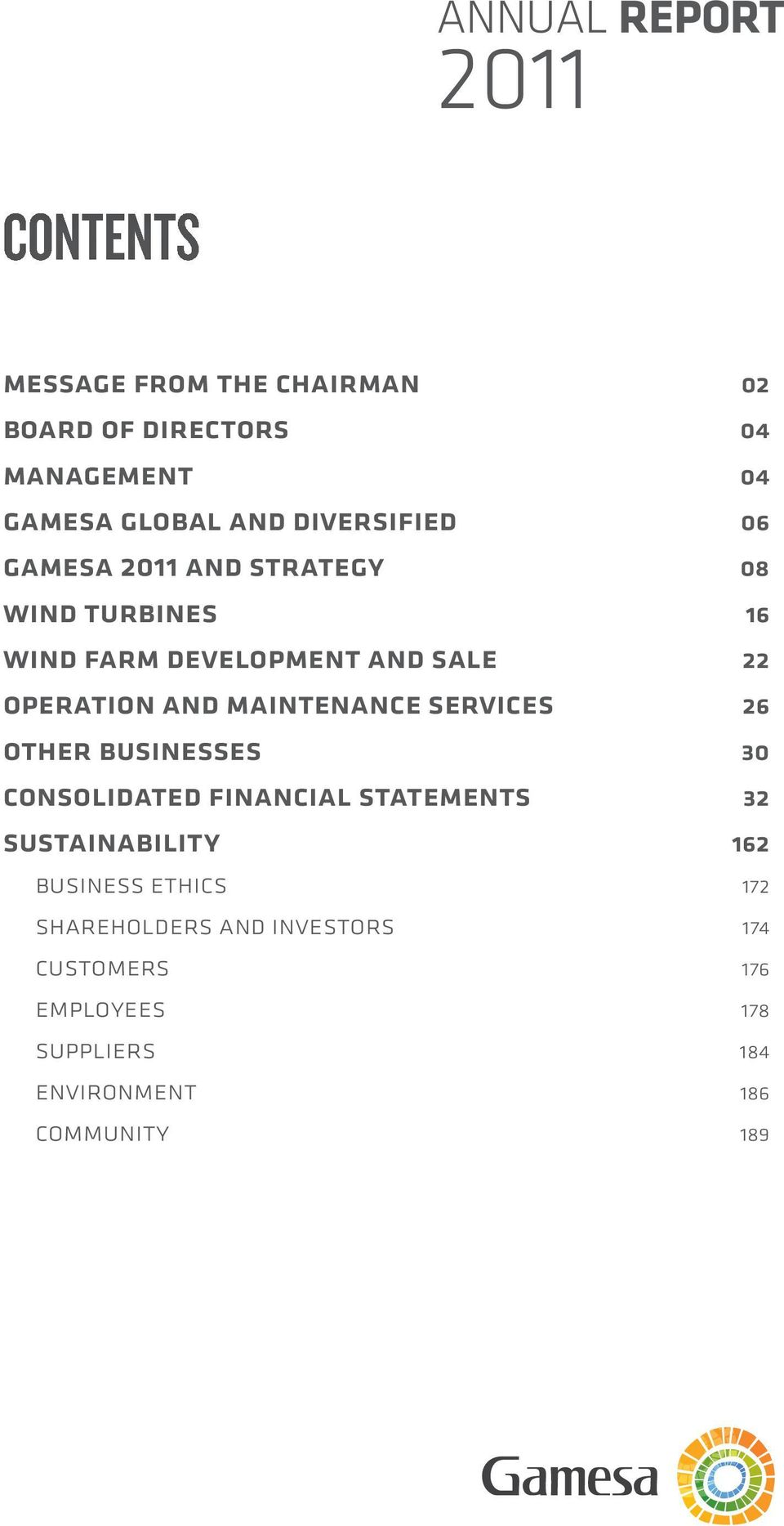 maintenance services 26 other businesses 30 consolidated financial statements 32 sustainability 162 business