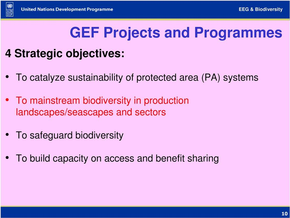 landscapes/seascapes and sectors To safeguard biodiversity GEF