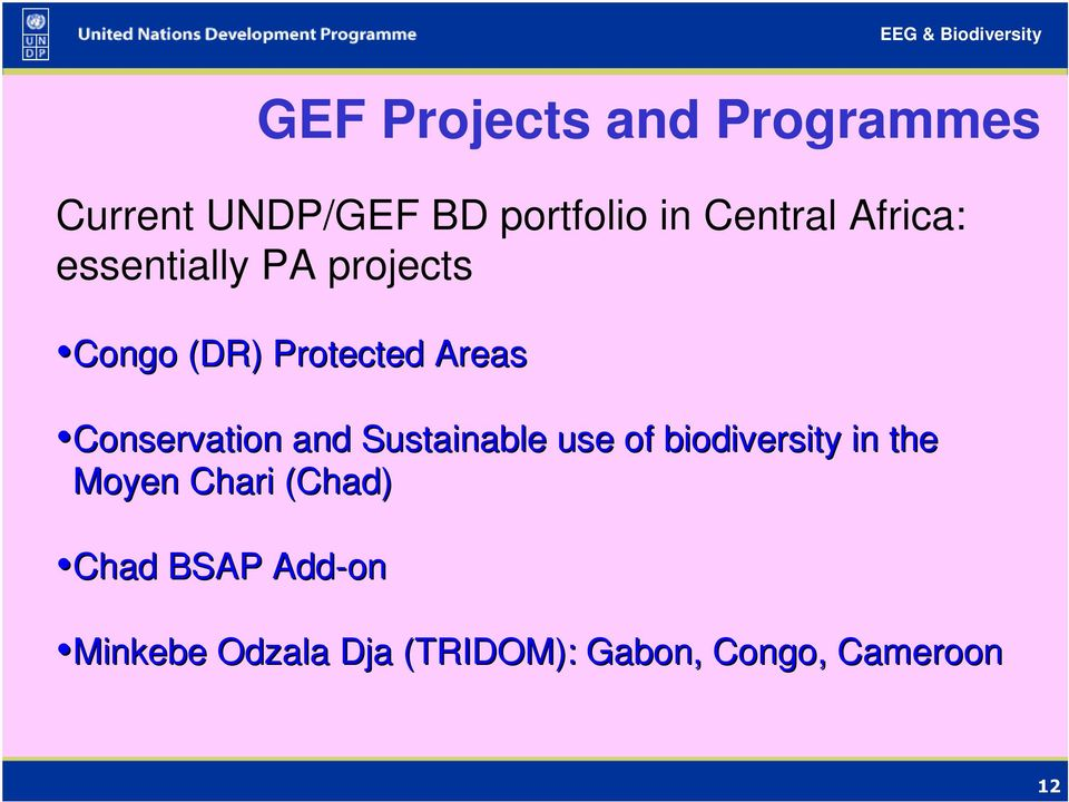 Conservation and Sustainable use of biodiversity in the Moyen Chari