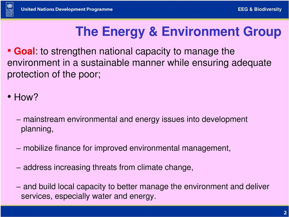 mainstream environmental and energy issues into development planning, mobilize finance for improved environmental