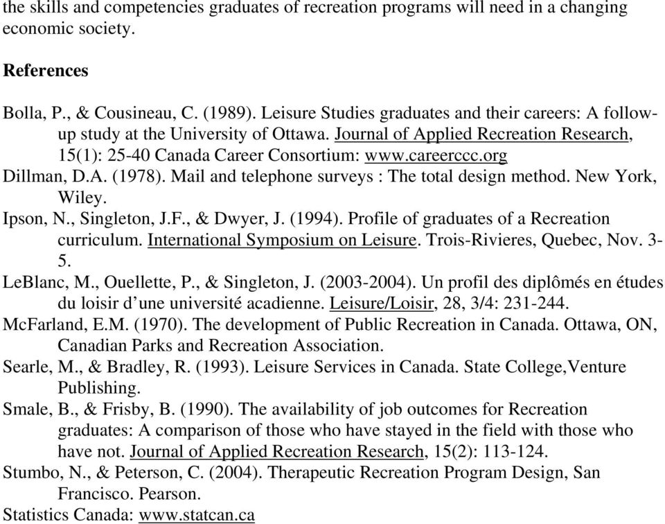 A. (1978). Mail and telephone surveys : The total design method. New York, Wiley. Ipson, N., Singleton, J.F., & Dwyer, J. (1994). Profile of graduates of a Recreation curriculum.
