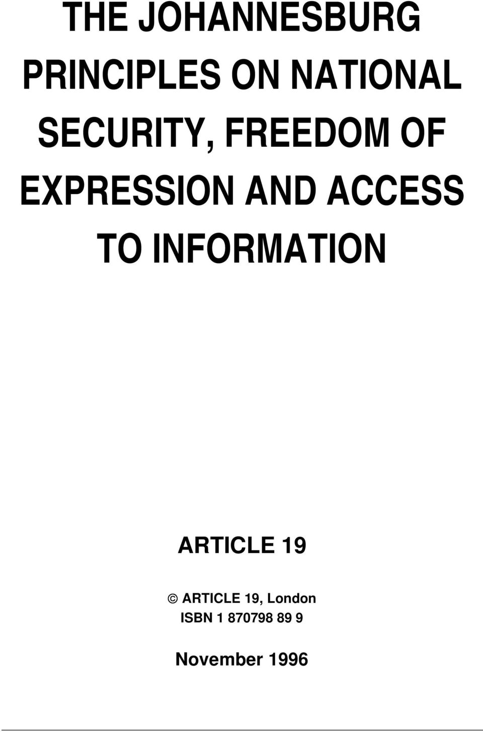 ACCESS TO INFORMATION ARTICLE 19