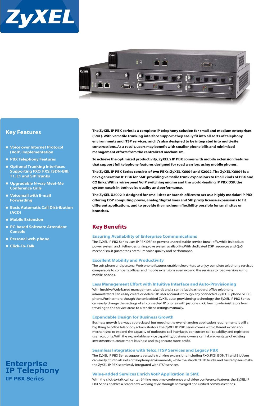 IP telephony solution for small and medium enterprises (SME).