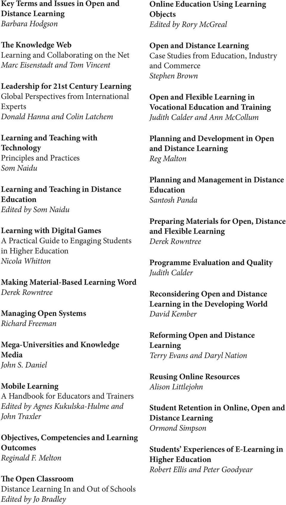 Som Naidu Learning with Digital Games A Practical Guide to Engaging Students in Higher Education Nicola Whitton Making Material-Based Learning Word Derek Rowntree Managing Open Systems Richard