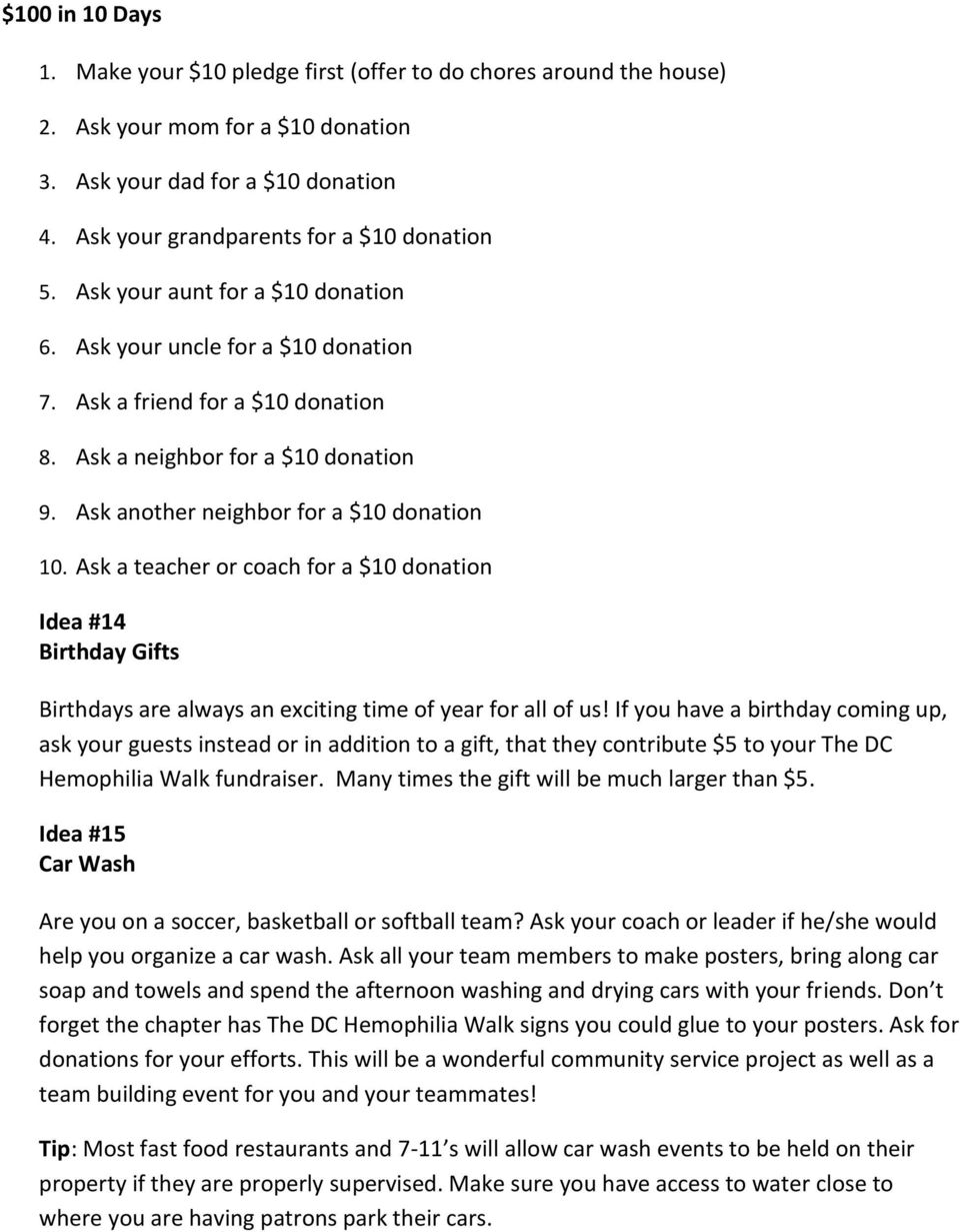 Ask a teacher or coach for a $10 donation Idea #14 Birthday Gifts Birthdays are always an exciting time of year for all of us!
