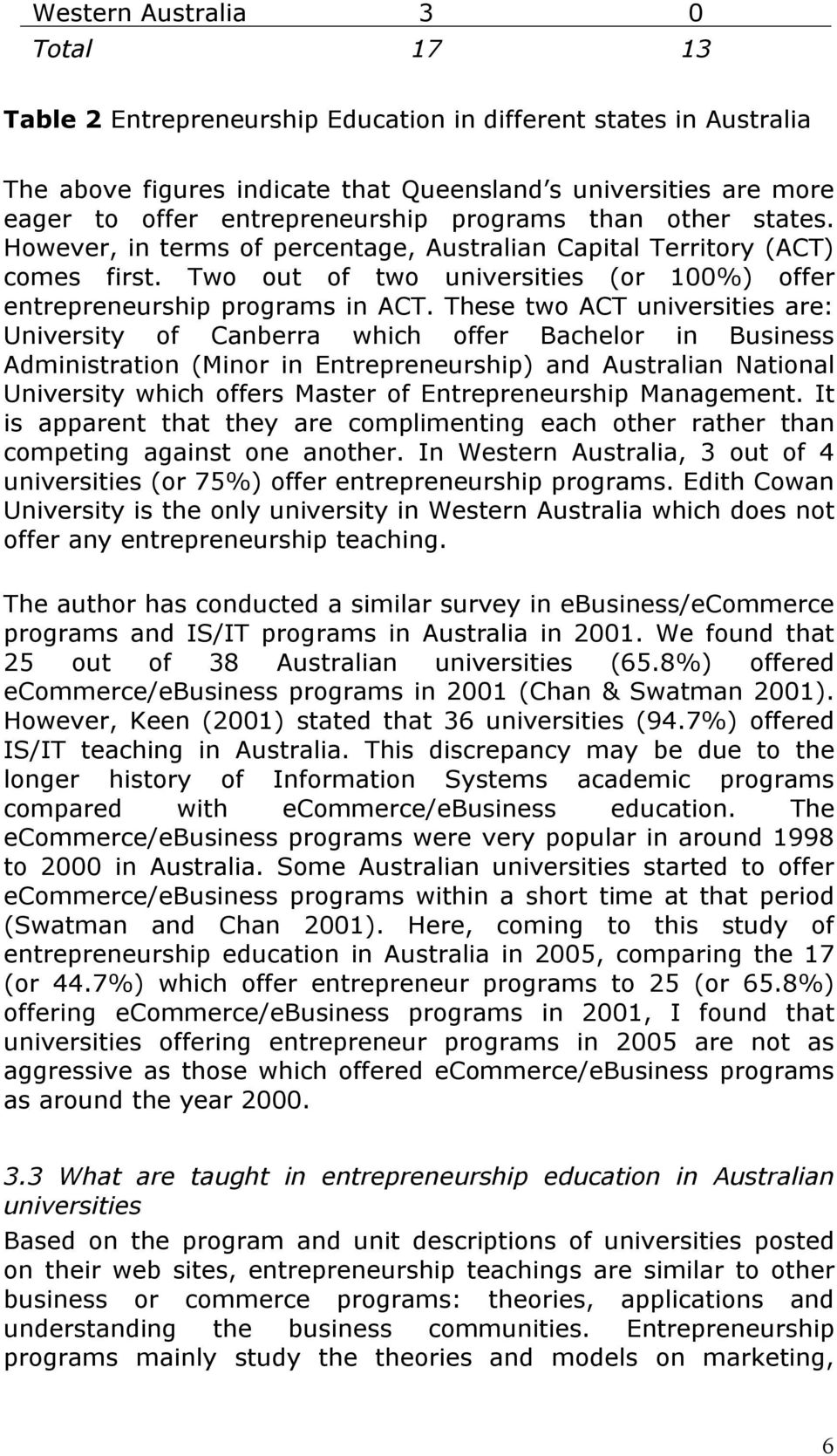 Two out of two universities (or 100%) offer entrepreneurship programs in ACT.