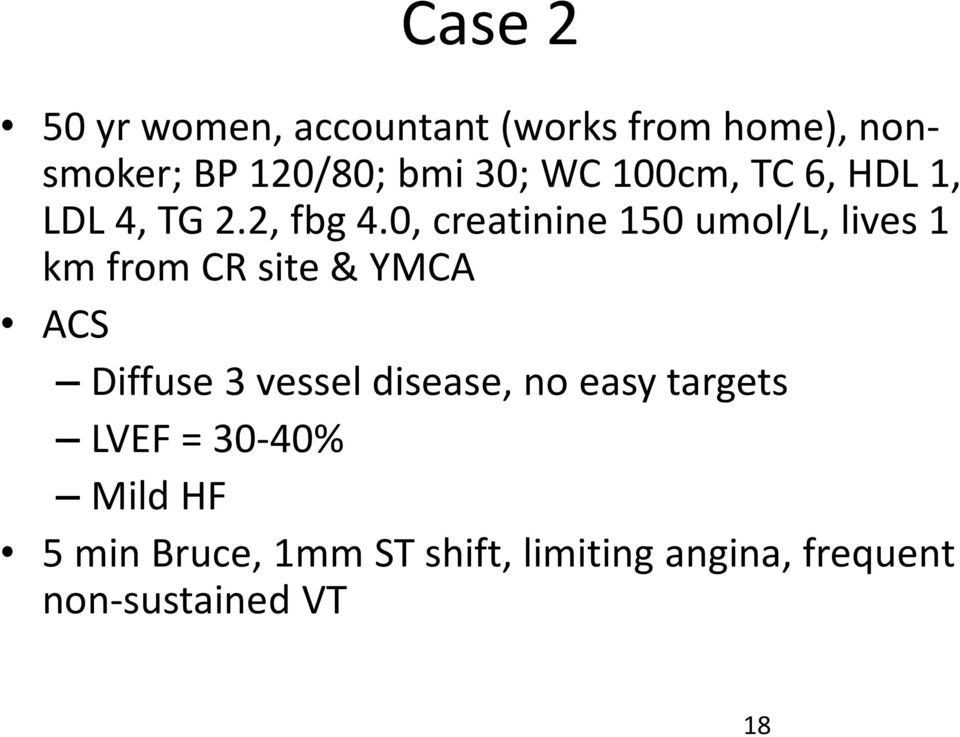 0, creatinine150 umol/l, lives 1 km from CR site & YMCA ACS Diffuse 3 vessel