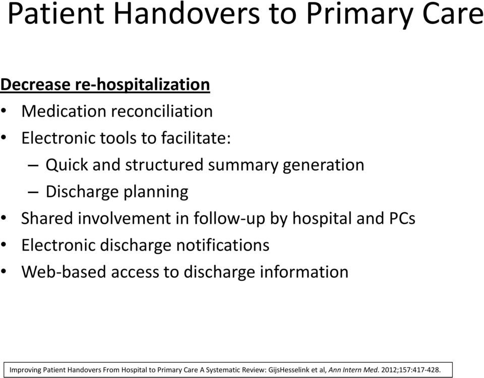hospital and PCs Electronic discharge notifications Web-based access to discharge information Improving