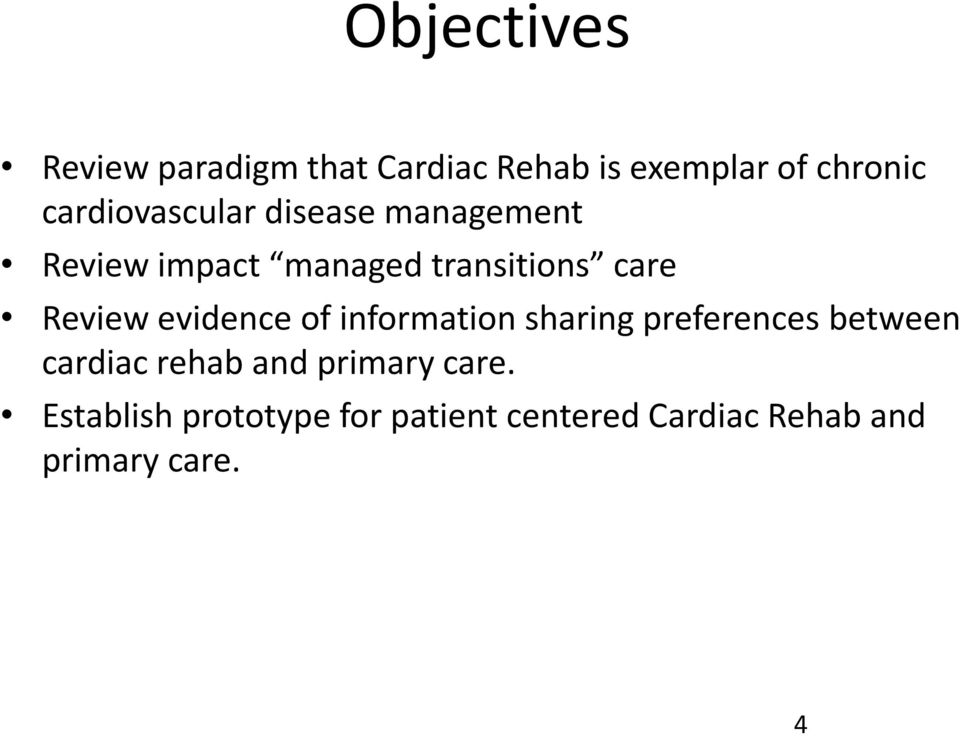 Review evidence of information sharing preferences between cardiac rehab and
