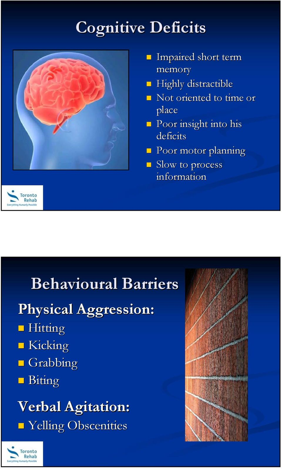 planning Slow to process information Behavioural Barriers Physical