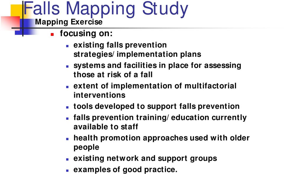 interventions tools developed to support falls prevention falls prevention training/education currently available