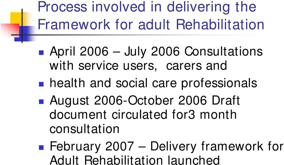 care professionals August 2006-October 2006 Draft document circulated for3