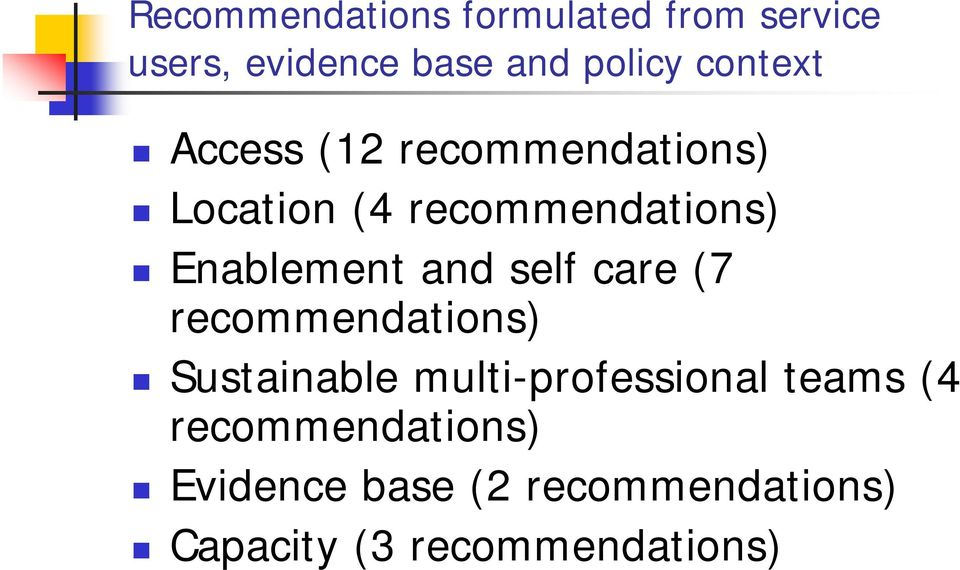 and self care (7 recommendations) Sustainable multi-professional teams (4