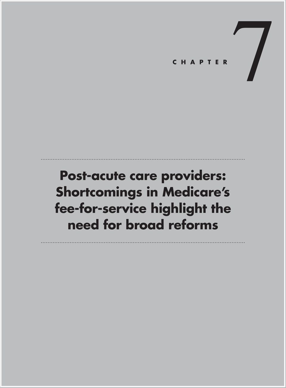 Medicare s fee-for-service