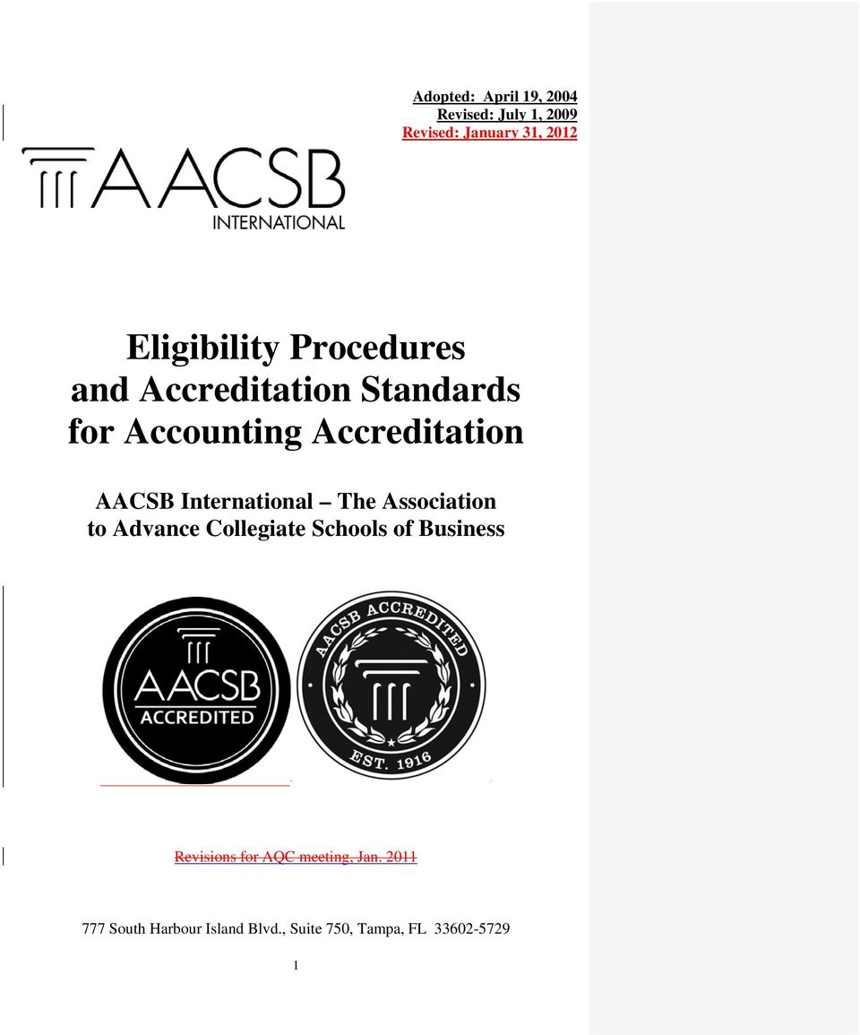 AACSB International The Association to Advance Collegiate Schools of Business
