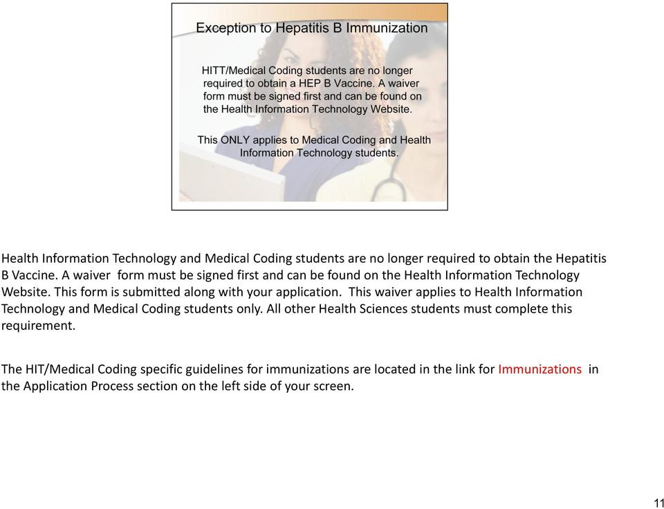 This waiver applies to Health Information Technology and Medical Coding students only.