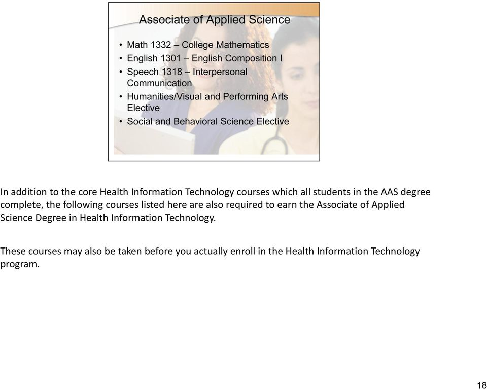 Associate of Applied Science Degree in Health Information Technology.