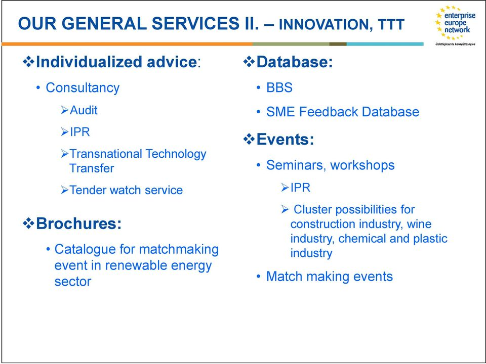 Tender watch service Brochures: Catalogue for matchmaking event in renewable energy sector