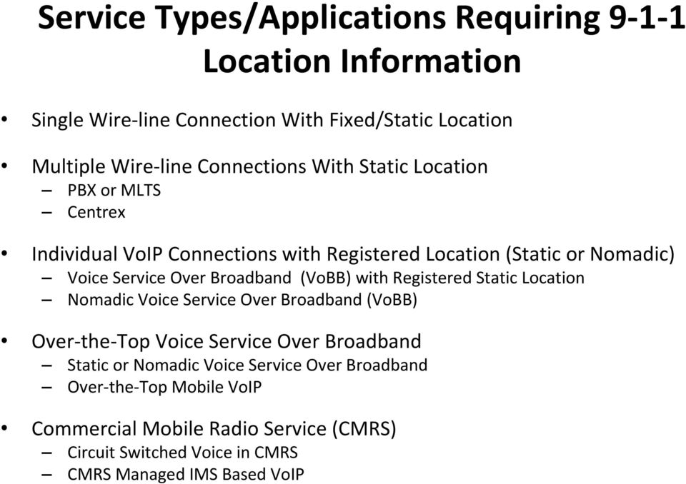 Broadband (VoBB) with Registered Static Location Nomadic Voice Service Over Broadband (VoBB) Over the Top Voice Service Over Broadband Static or