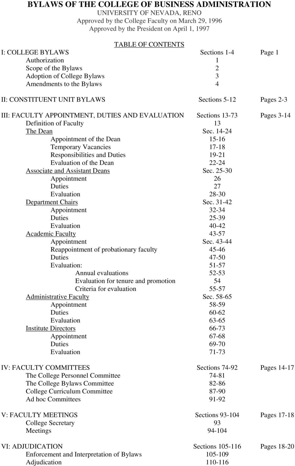 DUTIES AND EVALUATION Sections 13-73 Pages 3-14 Definition of Faculty 13 The Dean Sec.