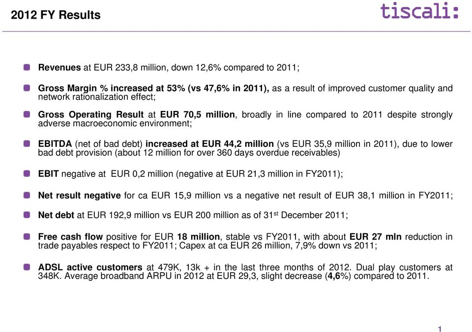 35,9 million in 2011), due to lower bad debt provision (about 12 million for over 360 days overdue receivables) EBIT negative at EUR 0,2 million (negative at EUR 21,3 million in FY2011); Net result