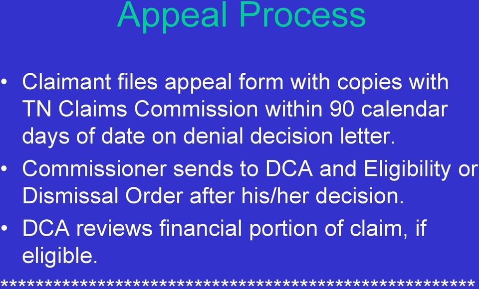 Commissioner sends to DCA and Eligibility or Dismissal Order after his/her