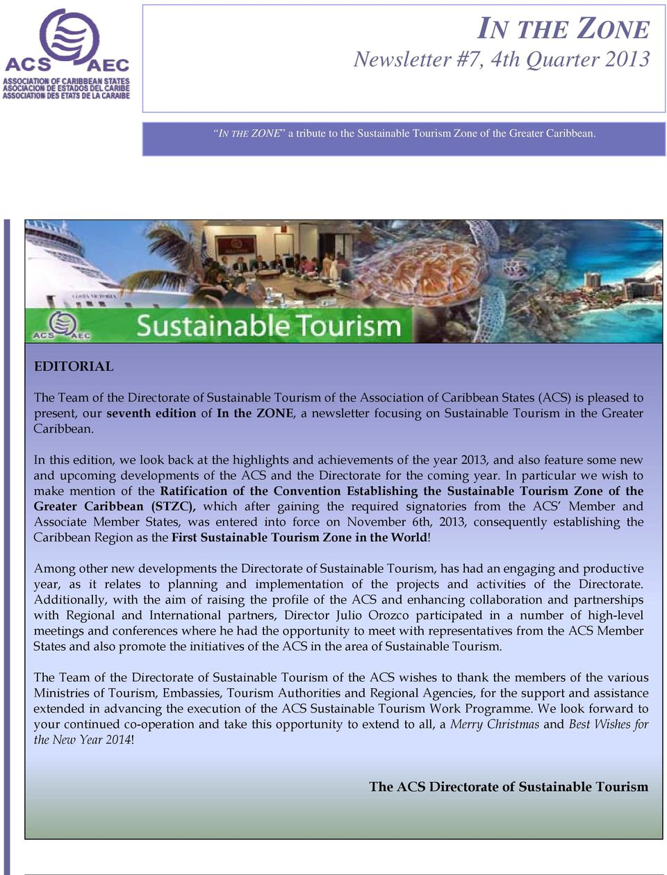 Sustainable Tourism in the Greater Caribbean.