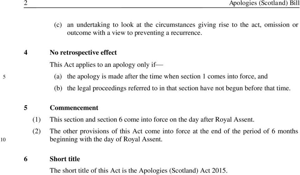 referred to in that section have not begun before that time. 10 5 Commencement (1) This section and section 6 come into force on the day after Royal Assent.