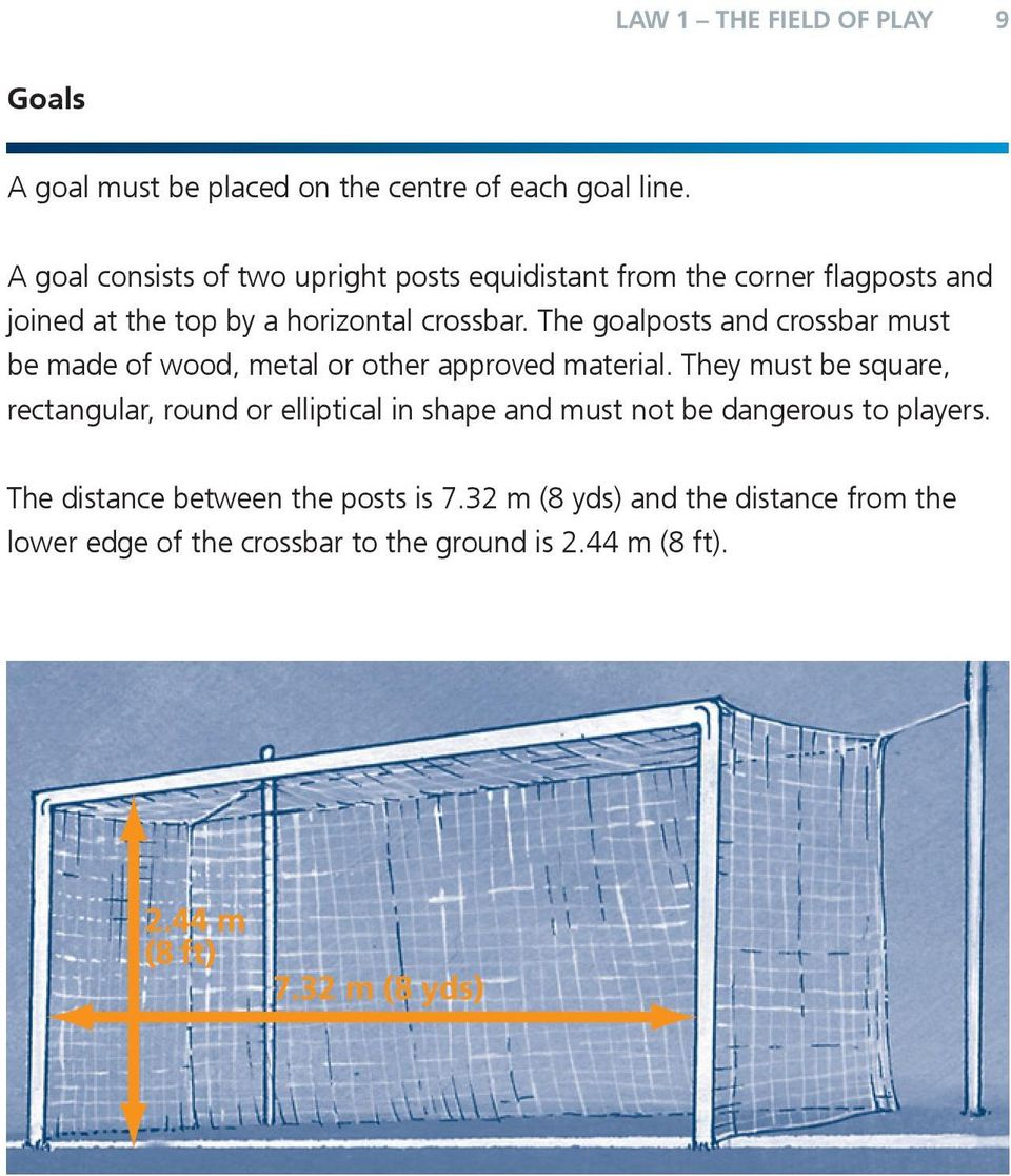 The goalposts and crossbar must be made of wood, metal or other approved material.
